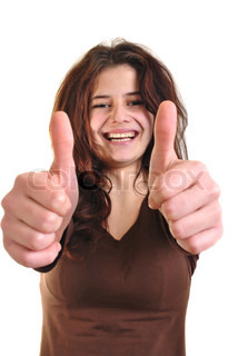 young woman shows her thumbs, focus face