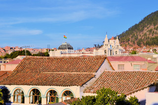 Sucre cityscape with Roofs, constitutional capital of Bolivia