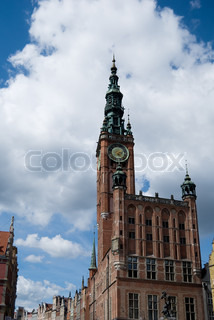 Gdansk town hall and old town architecture, Poland