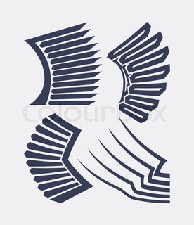 Abstract decorative wings in cartoon broken line style.
