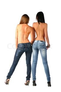 sexy brunette and blonde in jeans isolated on white background