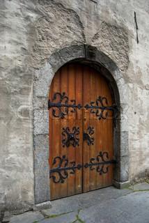 old door in stone castle