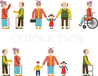 Older People In Different Situations Isolated Vector Illustration