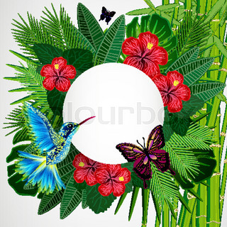 Tropical floral design background with bird, butterflies.