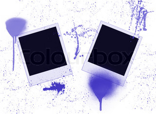 two blank instant photos and paint splashes