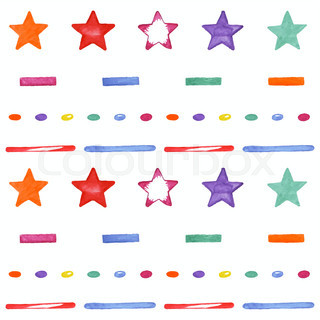 Cute seamless pattern with colored stars. Happy Birthday design elements