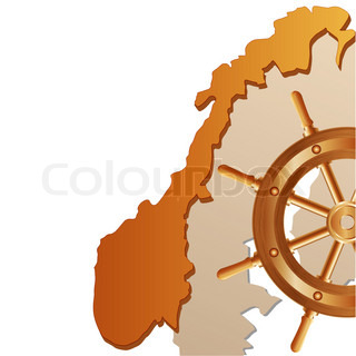 Map of Norway and steering wheel on a pure background