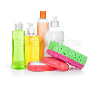household chemical cleansers and soap in the soap dish