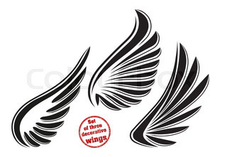 Set of 3 decorative vector wings with stylysh outline