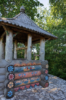 Heritage village, rustic wooden well