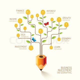 Infographic business pencil tree and coins flat line idea. Vector illustration. finance currency growth concept. can be used for layout, banner and web design.