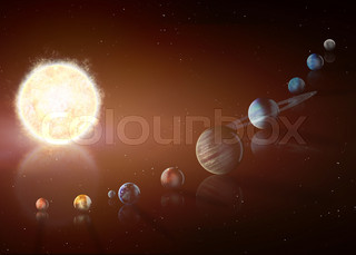 Illustration of solar system showing planets around sun. Elements of this image furnished by NASA