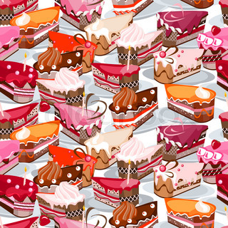 Seamless background made of cake slices