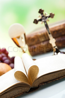 Christian holy communion, bright background, saturated concept