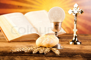 Holy of communion, bright background, saturated concept