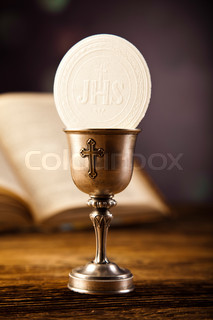 Holy Communion Bread, Wine, bright background, saturated concept