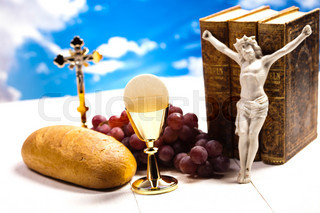 Holy communion, bright background, saturated concept