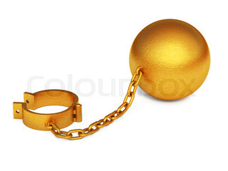 Golden shackles isolated