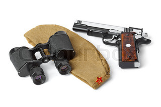 Soviet Army soldiers forage-cap, binoculars and pistol
