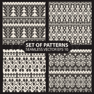 set of seamless knitted patterns graphics