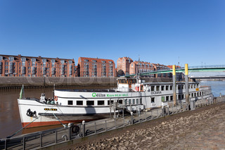 BREMEN, GERMANY - APR 5: Old ship anchoring on the Weser river in the city of Bremen. April 5, 2014 in Bremen, Germany