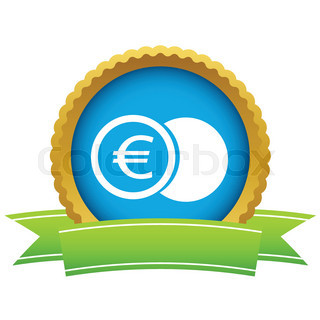 Gold euro coin logo