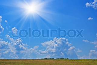 Summer sunny hot landscape with cloudy sky