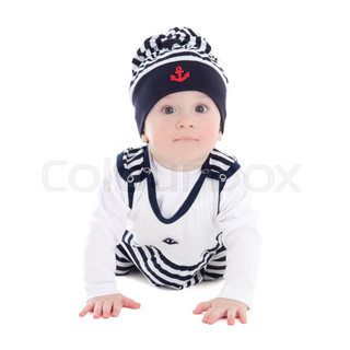 baby boy toddler in sailor clothes isolated on white