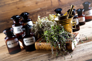 Herbs medicine and vintage wood