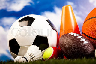 Sports Equipment and grass, natural colorful tone
