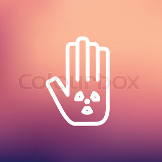 Hand and some object thin line icon