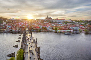 aerial view of Charles Bridge and Prague Castle