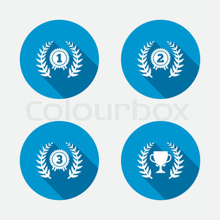 Laurel wreath award icons. Prize cup for winner.