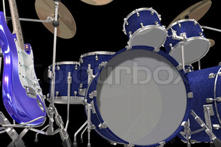 musical instruments isolated on a black background
