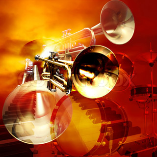 abstract jazz rock background musical instruments
