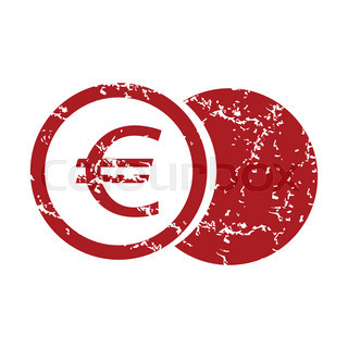Red grunge euro coin logo
