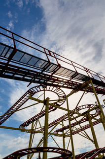 abandoned rollercoaster and sky