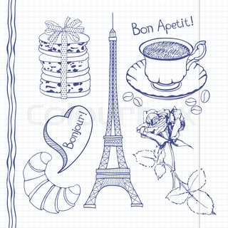 Set of hand drawn symbols of France,  doodles isolated.