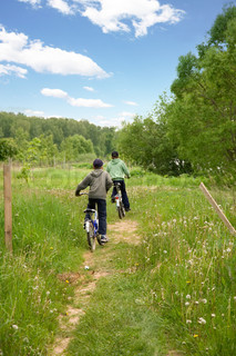 Two children on bicycles in the country