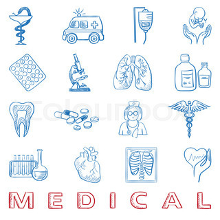 hand draw doodle. Health care and medicine icon set