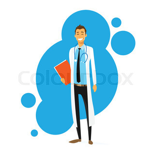 doctor cartoon smile man icon flat vector illustration