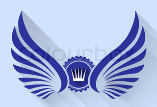 Heraldic icon with wings. crown and long shadow. Stylish vector illustration for your logo design or tattoo.