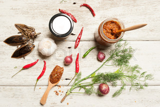 thai kitchen food spice herb pepper grass red onion garlic chilly ginger for cooking original eastern food syle on wood