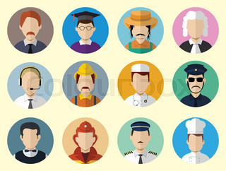 Set of Circle Icons with Man Different Professions.  Set - 04