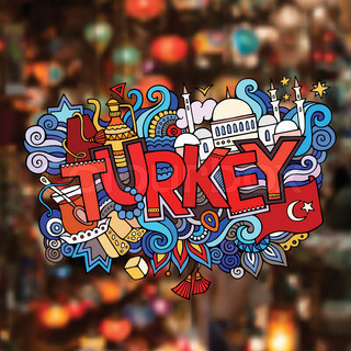 Turkey hand lettering and doodles elements background