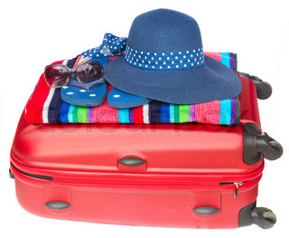 red suitcase with blue hat