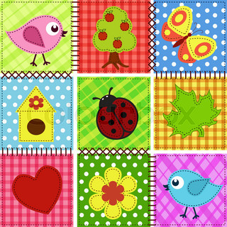 Patchwork with birds and birdhouses. Baby seamless background
