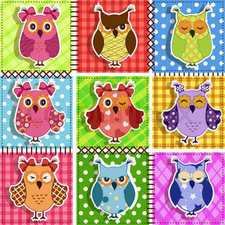 Patchwork with owls. Baby seamless background