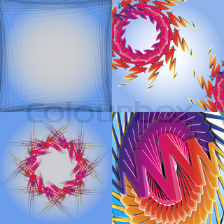 Set of abstract rainbow colored backgrounds with swirl.