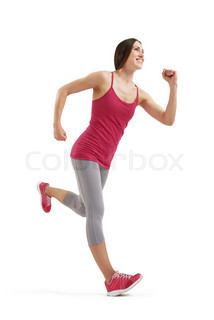 running smiley woman